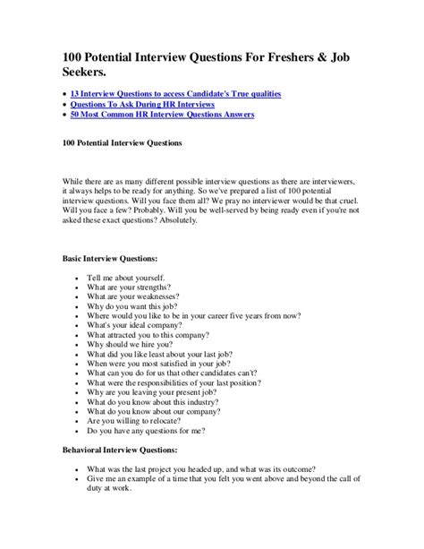 possible interview question 100 potential interview questions for freshers