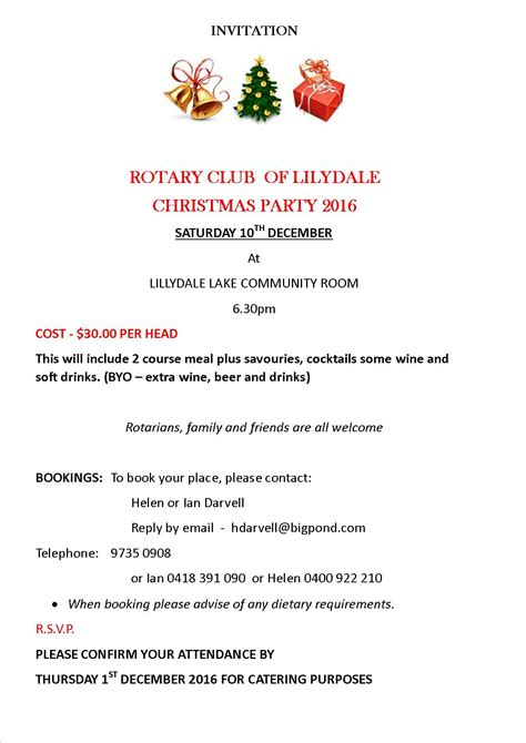 Invitation Letter Year End Club Fellowship Activity End Of Year Dinner Rotary Club Of Lilydale