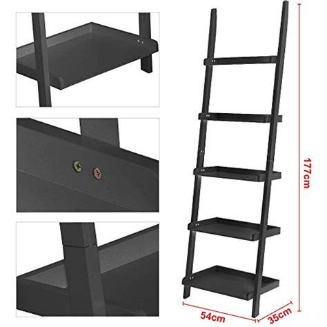 universalwant 70 inch 5 tier wood leaning ladder shelf