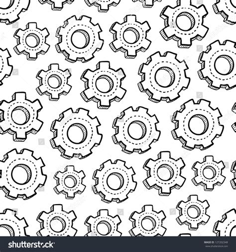 how to create mechanism in doodle doodle style gear mechanical seamless vector stock vector
