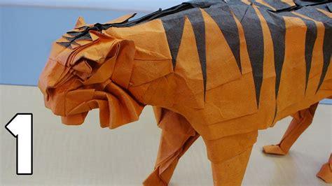 3d origami tiger tutorial origami tiger tutorial satoshi kamiya part 1 3 youtube