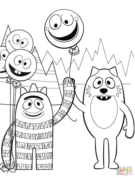 nick jr yo gabba gabba coloring pages brobee and toodee are playing with balloons coloring page