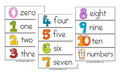 printable number line with words number preschool printables