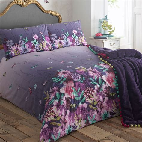 butterfly bedding designer purple butterfly garden bedding set ebay