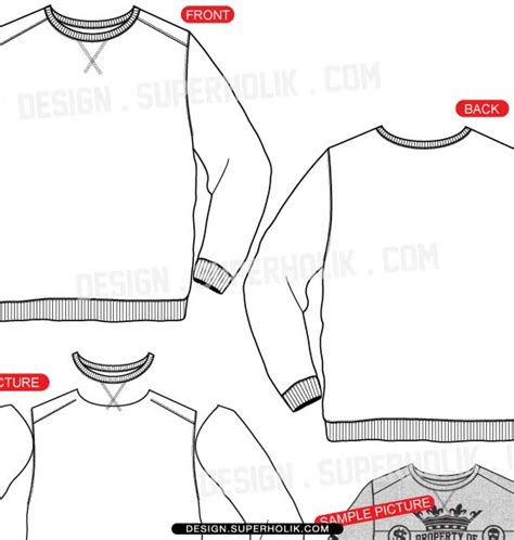 crewneck template fashion design templates vector illustrations and clip