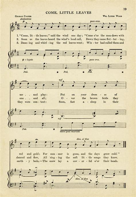 Come Little Leaves Sheet Music ~ Free Vintage Image   Old