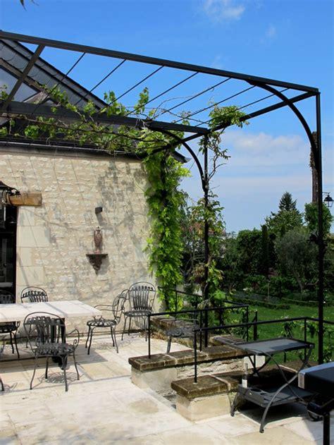Wrought Iron Garden Trellis Pergola De Terrasse En Acier