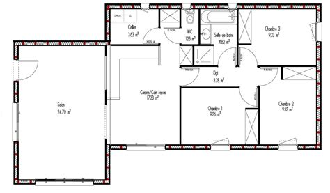 idée maison plain pied 3477 cuisine plan maison bois contemporaine gratuit plan