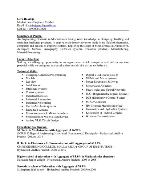 Sle Resume For Mechatronics Engineering Rt Mechatronics Cv