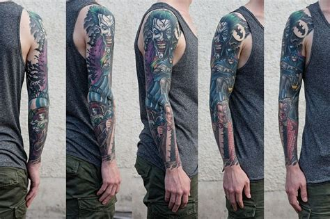 batman tattoo sleeve batman joker tattoos