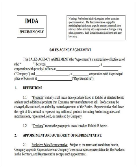 sales agency agreement template free agency agreement templates 6 free word pdf format