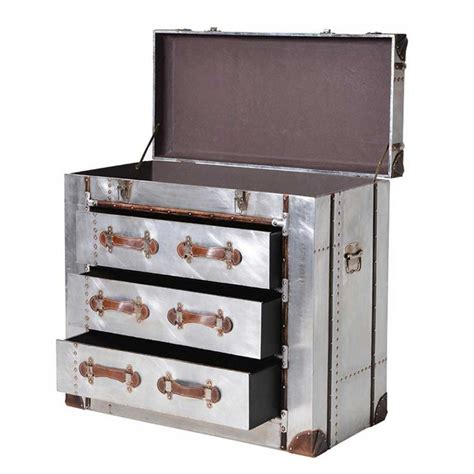 silver chest of drawers chest of drawers silver 3 drawer trunk chest with straps