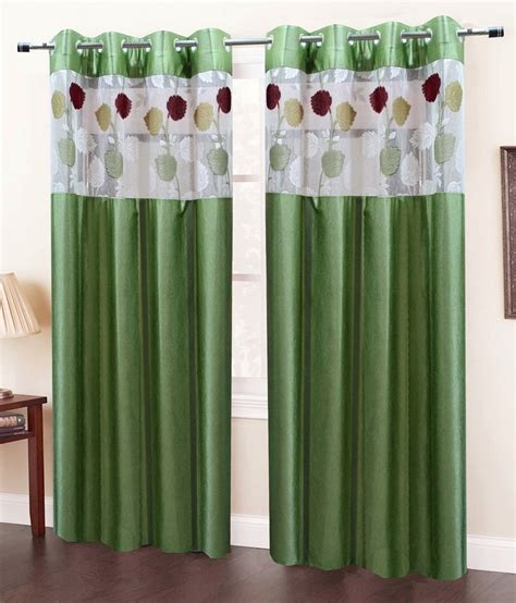 solid green curtains homefab india set of 2 door eyelet curtains solid green