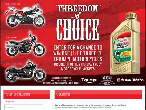 Motorcycle Sweepstakes 2014 - castrol 2014 triumph motorcycle sweepstakes