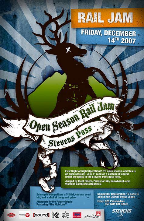 Garage Workshop Design poster event rail jam