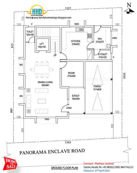 ground floor plan independent villa on sale at kadavanthra kochi