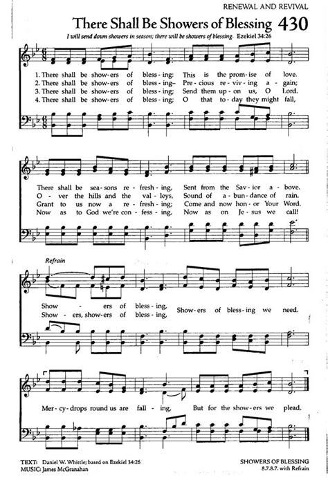 celebration hymnal 430 there shall be showers of blessing