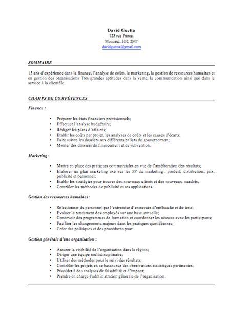 Curriculum Vitae Professionnel Modèle by Modele D Un Cv Quebecois Cv Anonyme