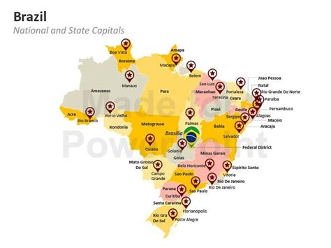 map of brazil with states brazil map states and cities
