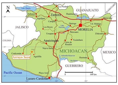 michoacan map michoacan mexico map
