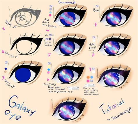 printable how to draw eyes step by step galaxy eye tutorial by saviroosje on deviantart