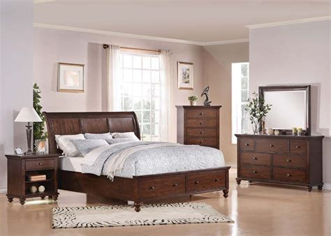 queen size bedroom furniture bedroom furniture king or queen size 4pcs bed set in brown cherry finish bed set ebay