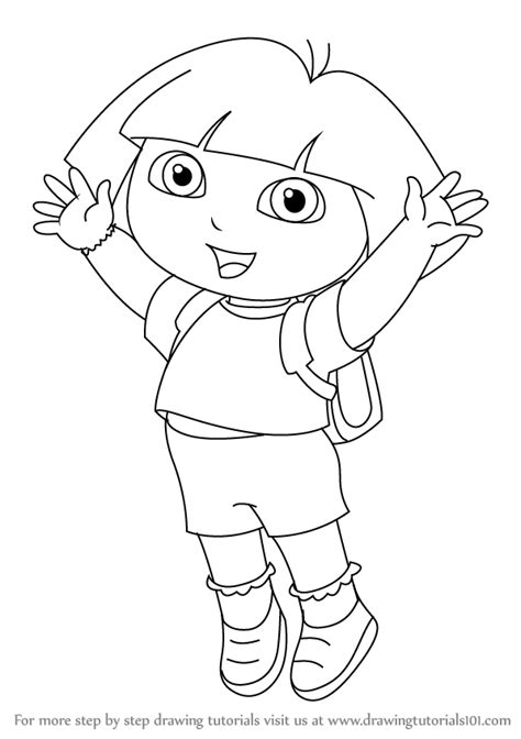 dora and buji coloring page learn how to draw dora marquez from dora the explorer