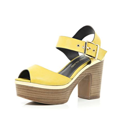 yellow platform sandals river island yellow peep toe platform sandals in yellow lyst