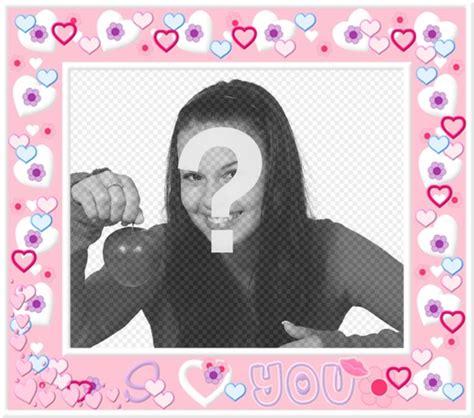 mettere cornice a foto cornice con cuori rosa per mettere la tua foto in