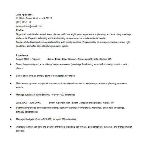 Event Planner Resume Template by Event Planner Resume Template 9 Free Word Excel Pdf