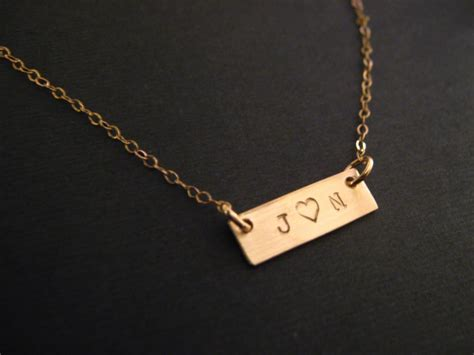 gold bar necklace couples jewelry personalized necklace