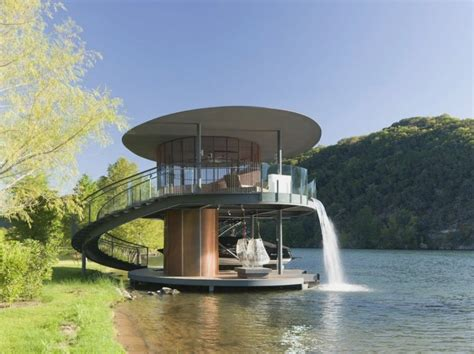 beautiful boat dock with artificial waterfall shore