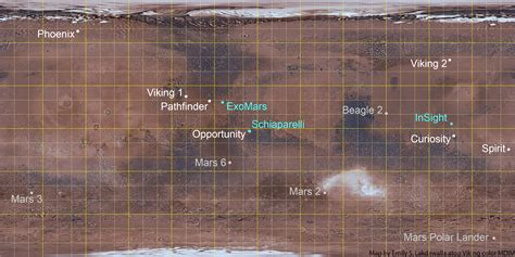 mars map map of all mars landing failed and successful the