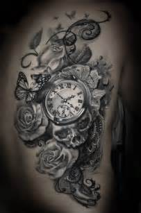 Skull watch and rose tattoos on half sleeve real photo pictures
