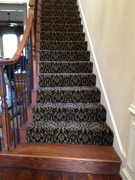 staircase rugs decorating on a shoe string installs patterned carpet on stairways decorating on a shoe string