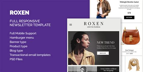 Roxen Responsive Newsletter Html Template By Trioactive Digital Themeforest Responsive Html Newsletter Template