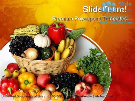 Fruits Vegetables Basket Food PowerPoint Templates Themes