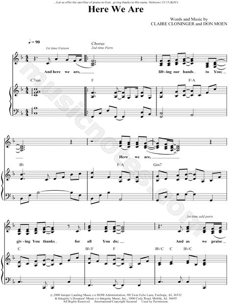 here we are notes don moen quot here we are quot sheet music in f major transposable download print sku mn0049504