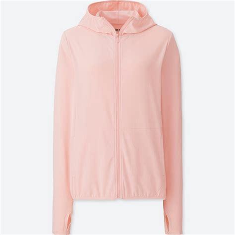 Jaket Hoodie Zipper Raglan Abu Pink uniqlo airism jaket hoodie retsleting uv cut mesh pjg