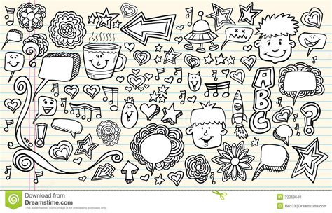 doodle free time notebook doodle sketch design elements stock photo image