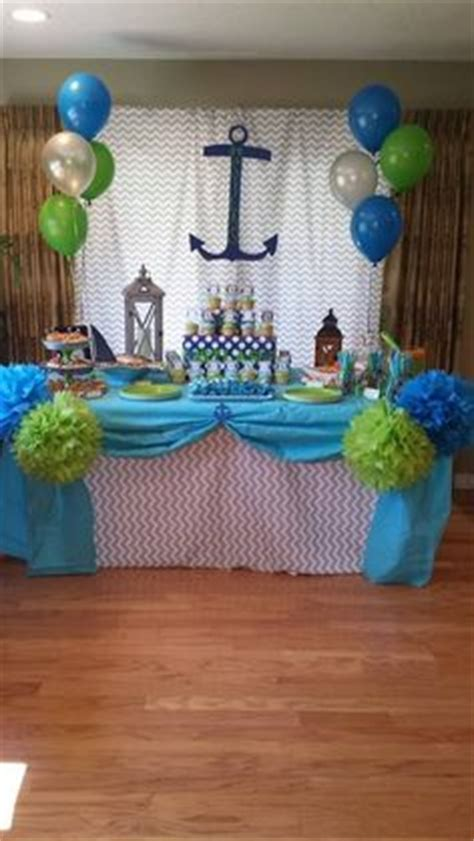 Baby Shower Decorations Blue And Green by Lime Green And Navy Blue Chevron Paper Garland Birthday