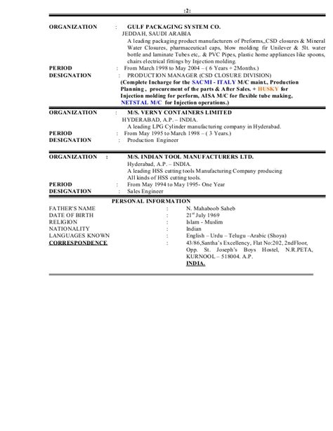 resume with personal data