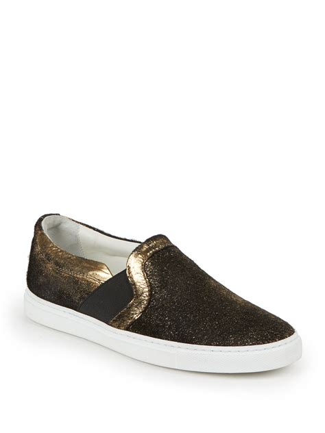 metallic sneakers lyst lanvin metallic foil suede slip on sneakers in metallic