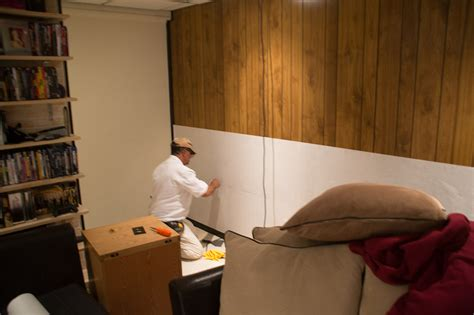 how to cover paneling how to cover wood paneling project bitdigest design
