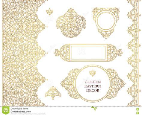 set of arabesque pattern frame border vector set of line art frames seamless border stock