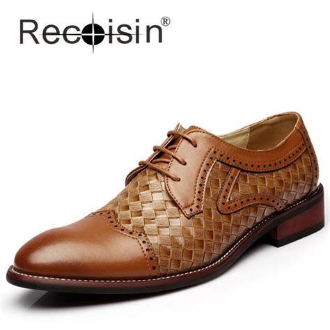 pattern on dress shoes recoisin genuine leather men woven pattern oxfords brogue