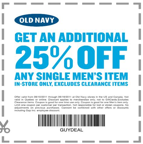 old navy coupons that work old navy coupon save 25 on a single men s item