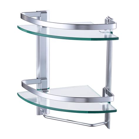 Glass Bathroom Shelves With Towel Bar Aliexpress Buy Kes A4123b Aluminum Bathroom 2 Tier Glass Corner Shelf With Towel Bar Wall