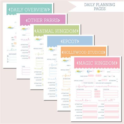 disney itinerary planner template walt disney world trip planning binder