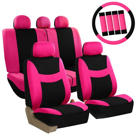 pink car seat cover pink car seat covers set for auto w steering wheel belt